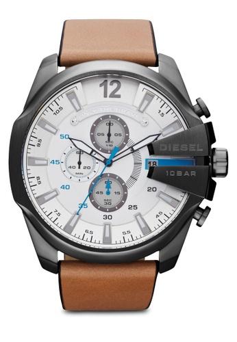Diesel grey Diesel Mega Chief Light Brown Leather Watch DZ4280 DI095AC62AXLMY_1