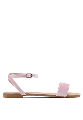 Velvet 粉紅色 一字帶簡約涼鞋 C7A5FSH3A6169EGS_1