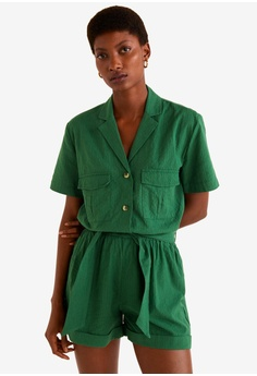 9ecc7f29f9e MANGO green Cotton Pockets Jumpsuit 7DE05AA4DE1BA3GS 1