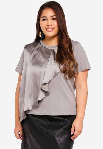 LOST INK PLUS grey Plus Size T-Shirt With Satin Frill 17A10AA74F760DGS_1