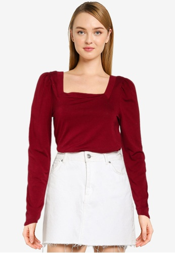 GAP red Drapey Square Blouse 58307AA9B8CF63GS_1