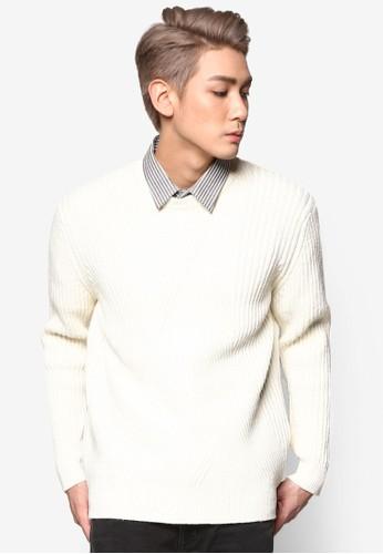 暗紋針織長袖衫zalora taiwan 時尚購物網鞋子, 服飾, 運動衫