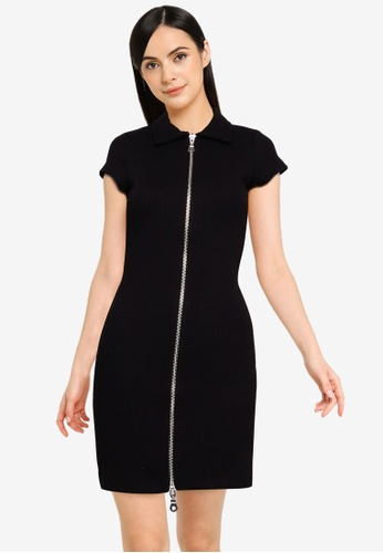 The Ragged Priest black Double Ended Zip Rib Polo Dress 88FCCAA3A441D8GS_1