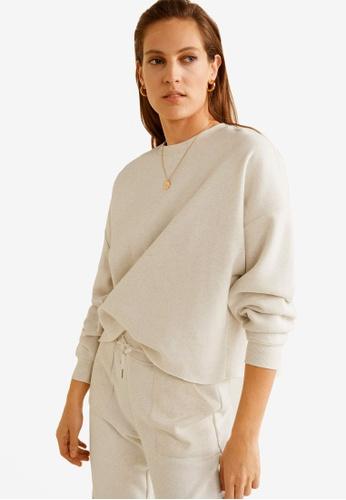 Mango grey Flecked Crop Sweatshirt E2309AAB53C97CGS_1