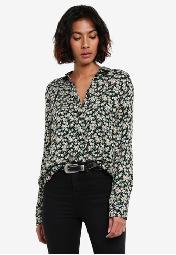TOPSHOP black and multi Polka Ditsy Casual Shirt TO412AA0RY2MMY_1