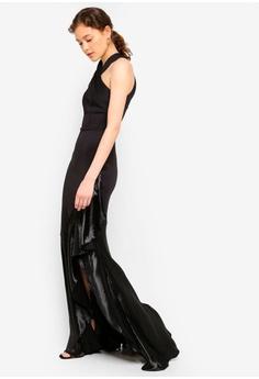 e0fe5caf0c17a 30% OFF Lipsy Black Halter Ruffle Maxi Dress RM 479.00 NOW RM 334.90 Sizes  6 10 12