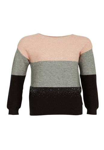 Universal Traveller pink Universal Traveller Boatneck Colour Block Knitted Sweater With Crystal - KSW 9166 BA613AA251D89DGS_1