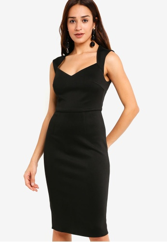 ZALORA black Sweet Heart Neck Sheath Dress BC027AABD75827GS_1