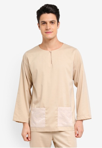 Zalia Homme beige Contrast Pocket Top 7258BAABF38057GS_1