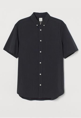 H&M black Short-Sleeved Shirt E17CAAA4C4758BGS_1