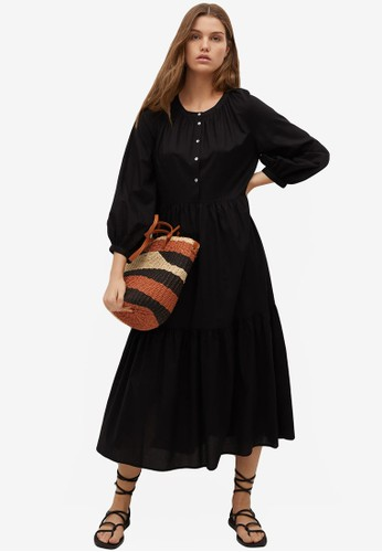 Mango black Frill Cotton Dress 77311AAA984C54GS_1