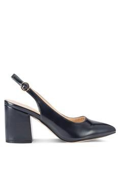 【ZALORA】 尖頭繞踝粗跟高跟鞋