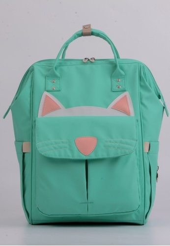 0dcd120605 Jackbox green Leke Baby Multi Function Cute Cat Diaper Mama Bag Backpack  758 (Turquoise)