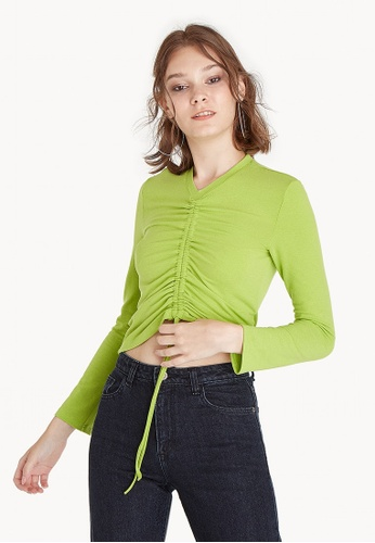 Pomelo green Ruched V Neck Blouse - Green 8A39AAAFC18FC3GS_1