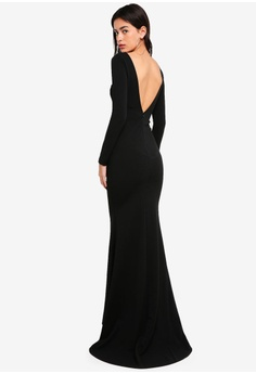 5974fc2461 MISSGUIDED black Long Sleeve Open Back Fishtail Maxi 6FBC2AA731F0AAGS 1