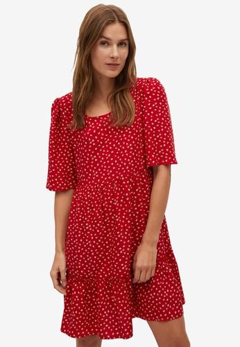 Mango red Ruffle Printed Dress 0419EAADABC91BGS_1