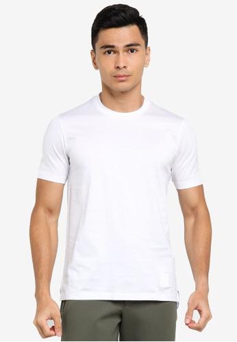 ck Calvin Klein white DOUBLE MERCERISED COTTON CREW TOP WITH LUREX LOGO 4E720AAB115F32GS_1