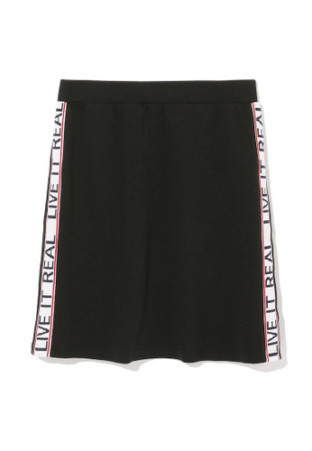 "izzue black ""Live It Real"" taped skirt 76D5DAA90C1237GS_1"