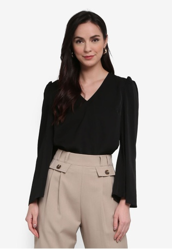 ZALORA WORK 黑色 V Neck Puff Sleeves Top BFD40AABC2E56BGS_1