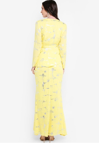 Buy Draped Kurung Set from Lubna in Yellow at Zalora