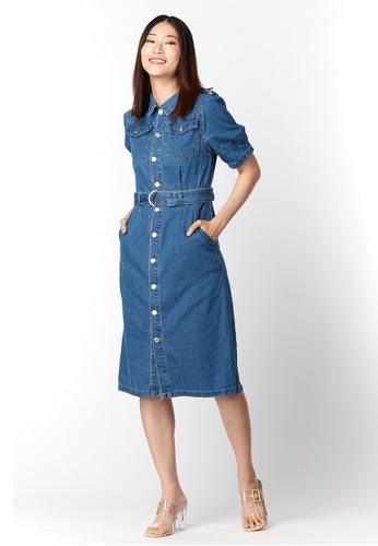 What To Wear blue Back Slit Denim Midi Dress in Blue 5D42BAACD42D24GS_1