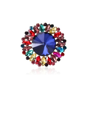 Glamorousky silver Fashion and Elegant Colorful Geometric Circular Pattern Brooch with Cubic Zirconia B1FEAACD392093GS_1