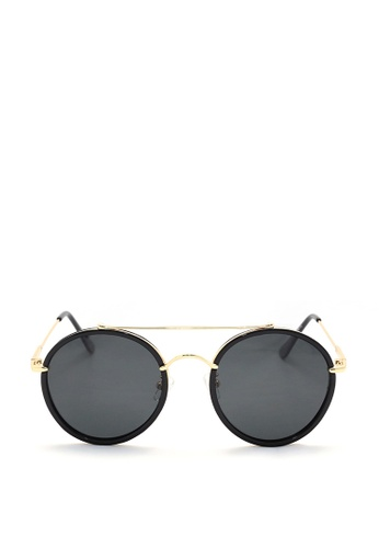 Kaca-kaca black and gold Kaca Kaca Bond Sunglasses KA666AC0RISVMY_1