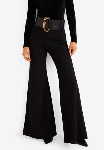 Mango black Flowy Palazzo Trousers D77DCAA6C80AB0GS_1