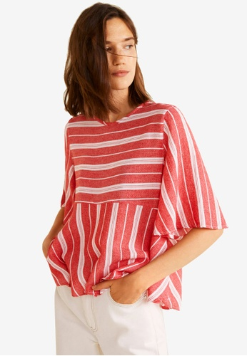Mango red Striped Cotton Blouse 1EFCAAAE17235CGS_1