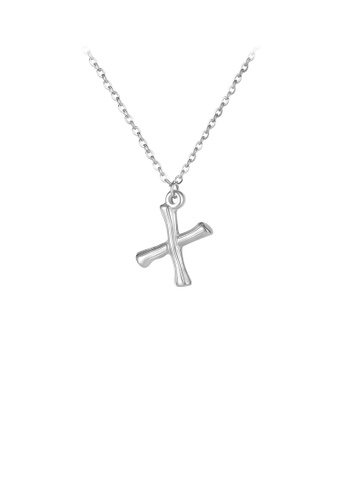 Glamorousky silver Fashion Simple English Alphabet X 316L Stainless Steel Pendant with Necklace 0B1AFAC42B850FGS_1