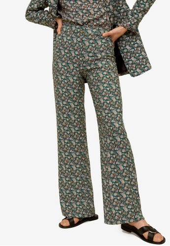Mango green Printed Straight Trousers 7AB2CAA50646A8GS_1