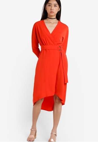 TOPSHOP red Ring Wrap Dress TO412AA82RWJMY_1