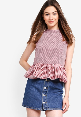 Something Borrowed red Contrast Checks Peplum Top 0EB5DAACDDB449GS_1