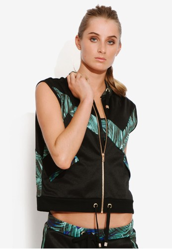 Aesprit outlet 台灣ctive 印花拼接拉鍊無袖外套, 服飾, 服飾