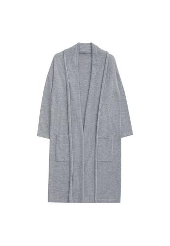 KLAPS grey Cashmere-blend Long Cardigan 80E39AAB0EA852GS_1