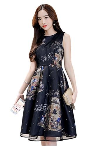Sunnydaysweety black Black Printed Sleeveless A-Line One Piece Dress K20042930 DE6FEAA8A90703GS_1