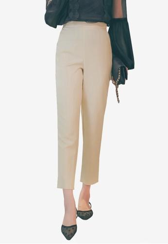Yoco beige High Waist Tapered Pants 7A9AAAAA4245C2GS_1