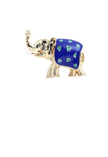 Glamorousky silver Fashion Cute Plated Gold Blue Elephant Brooch 396DDAC288955CGS_1