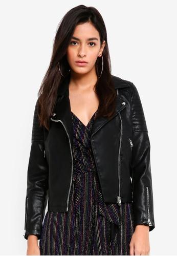 TOPSHOP black Black Pu Leather Biker Jacket 9DD59AA0B739A4GS_1