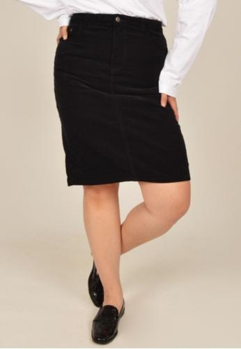 Cheetah black Arissa Plus Size Knee Length Skirt - ARS-12048 3511AAACF4990CGS_1