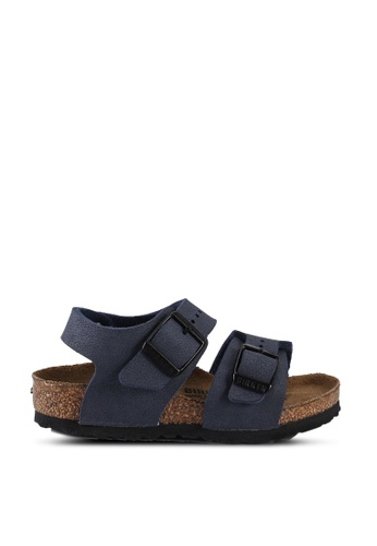 Birkenstock navy New York Kids Birko-Flor Nubuck Sandals B1CD1KSB6564B3GS_1
