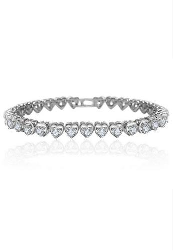 Vivere Rosse silver Charming Hearts Tennis Bracelet VI014AC55ZRKMY_1