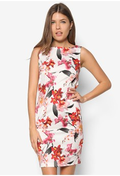 Petite Coral Floral Shift Dress