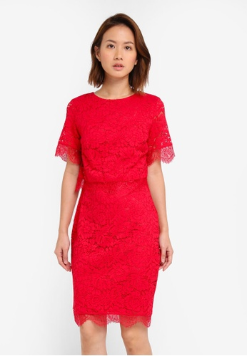 Dorothy Perkins red Petite Lace Pencil Dress DO816AA0ST08MY_1