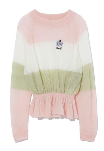b+ab pink Frill hem stripe sweater 56185AA06F9D5EGS_1