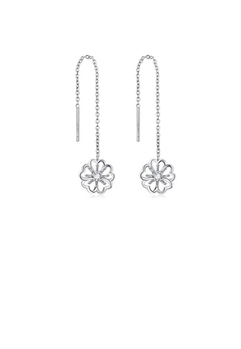 Glamorousky white 925 Sterling Silver Fashion and Elegant Flower Tassel Earrings with Cubic Zirconia 9A9B9ACDC7424EGS_1