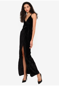e56641979c966 20% OFF Boohoo Velvet Wrap Tie Maxi Dress S$ 52.90 NOW S$ 42.32 Sizes 6 8  10 12 14