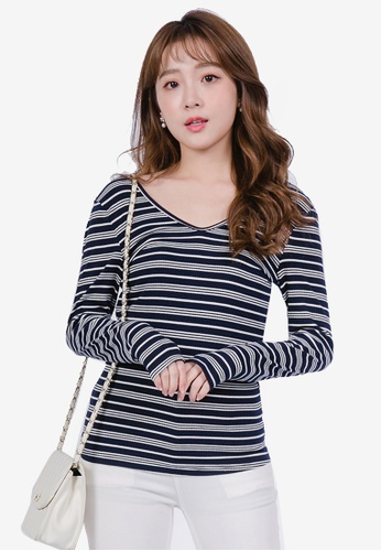 YOCO navy V Neck Striped Top 10E28AA71AC51CGS_1