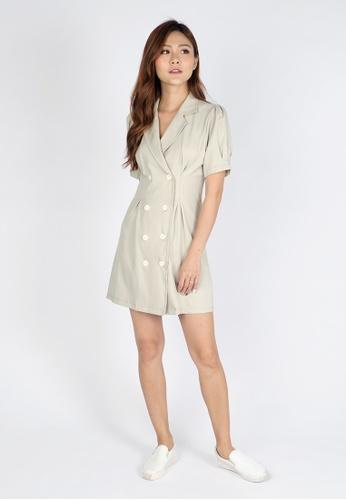 Sophialuv beige Jacket Overlap Puffy Dress in Beige 48042AA25737E2GS_1