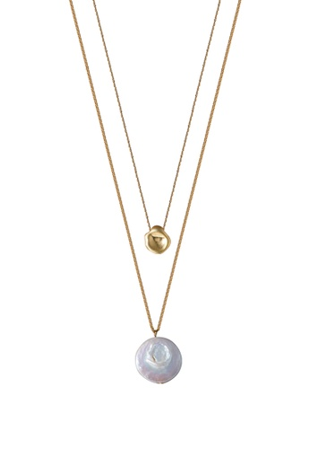 SKEDA gold Pearl Charm Necklace CAA42AC86CFD10GS_1